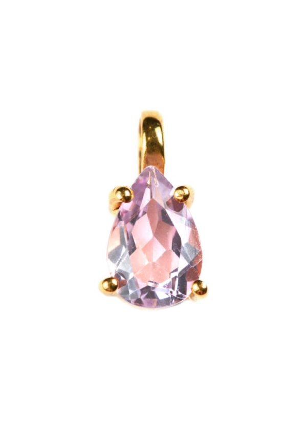 atn1024_Adorable pear-cut pendant gold- pink amethyst