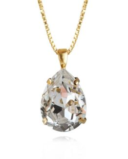 Classic-drop necklace-crystal-gold_